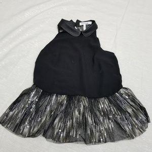 BCBG Collared Black Silver Peplum Top SZ XS